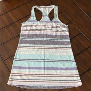 lululemon athletica Tops - Lululemon Cool Racerback-Blue/Grey Stripes-Size 10